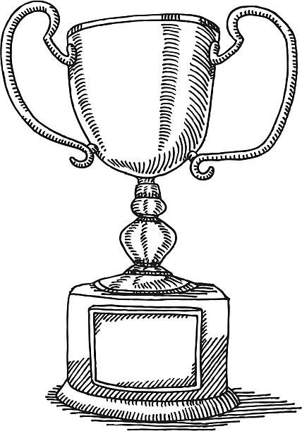 Trophy Blank Sign Drawing Hand-drawn vector sketch of a Trophy with a blank sign on the stand. Black-and-White sketch on a transparent background (.eps-file). Included files: EPS (v8) and Hi-Res JPG. celebration stock illustrations