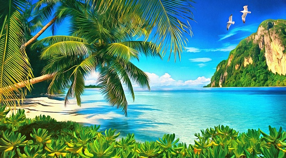 Tropical bay with green plants, palms and seagulls