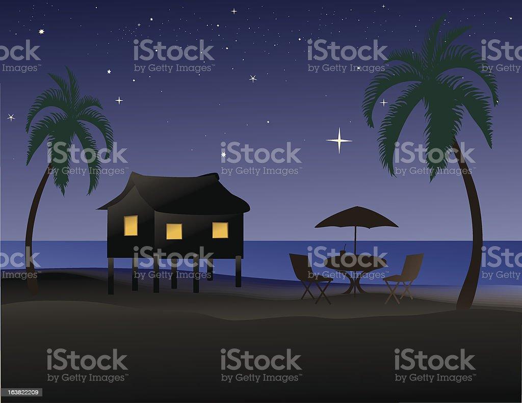 Tropical beach at night royalty-free stock vector art