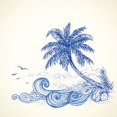 Tropical Beach Drawing