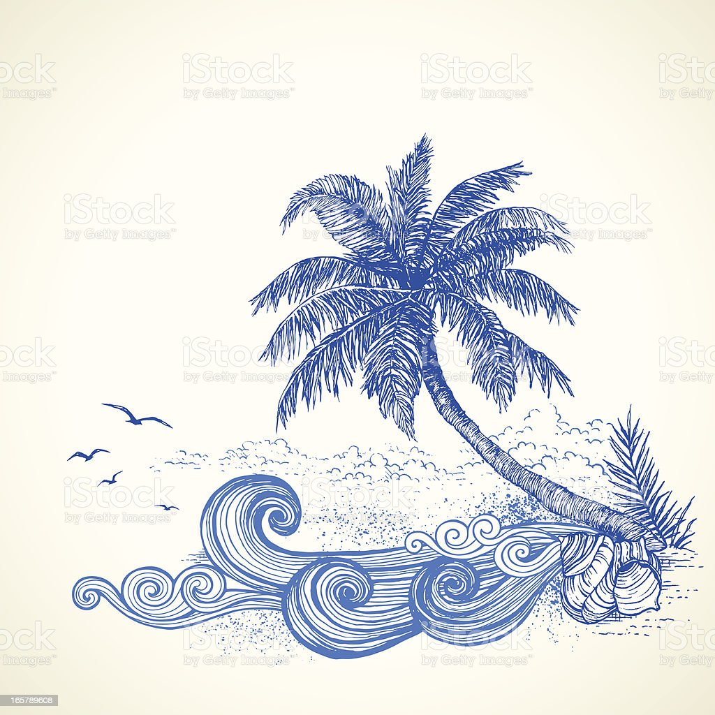 Tropical Beach Drawing vector art illustration