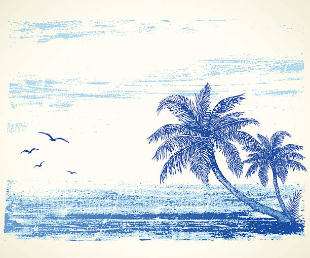 Tropical Beach Drawing Hand drawn summer illustration.Elements are separate.More works like this in my portfolio. idyllic stock illustrations