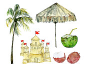 istock Tropical beach rest hand drawn watercolor set 1309070851
