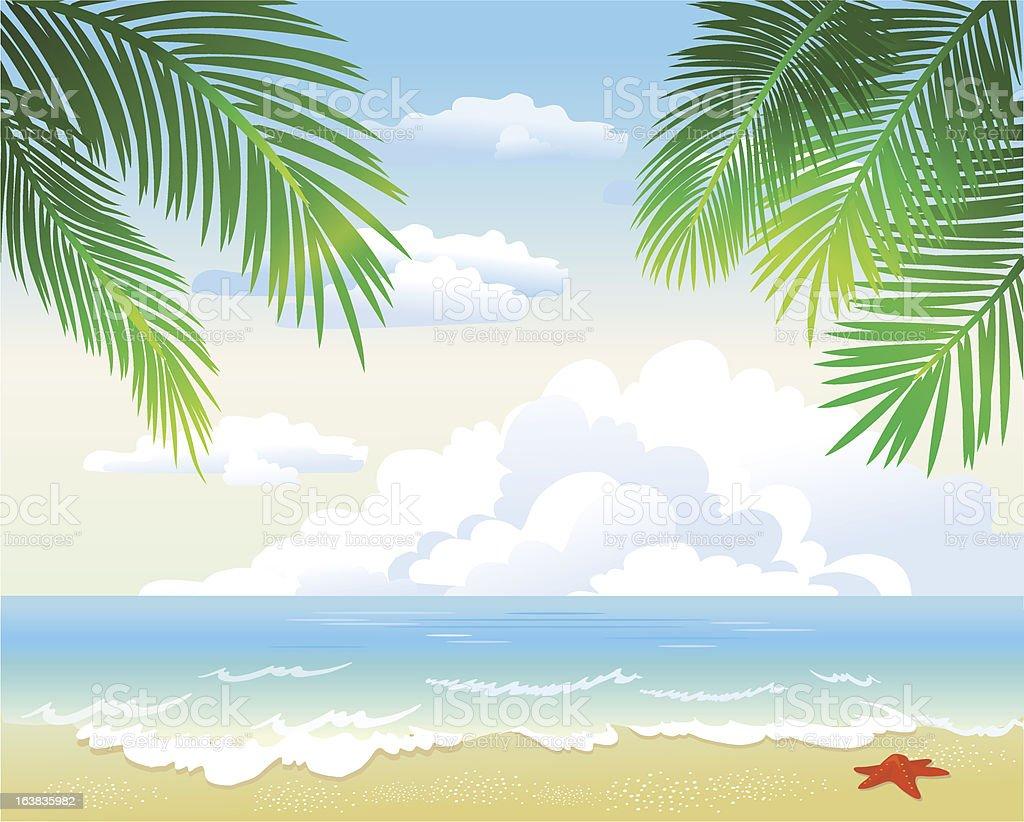 Tropical beach with palm leaf vector art illustration