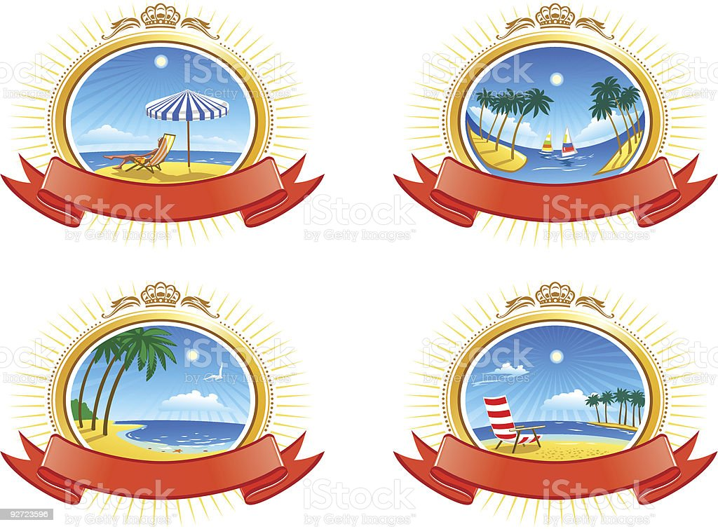 Tropical Coastline Emblems Set vector art illustration