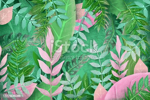 istock 3D tropical floral background 1222605086