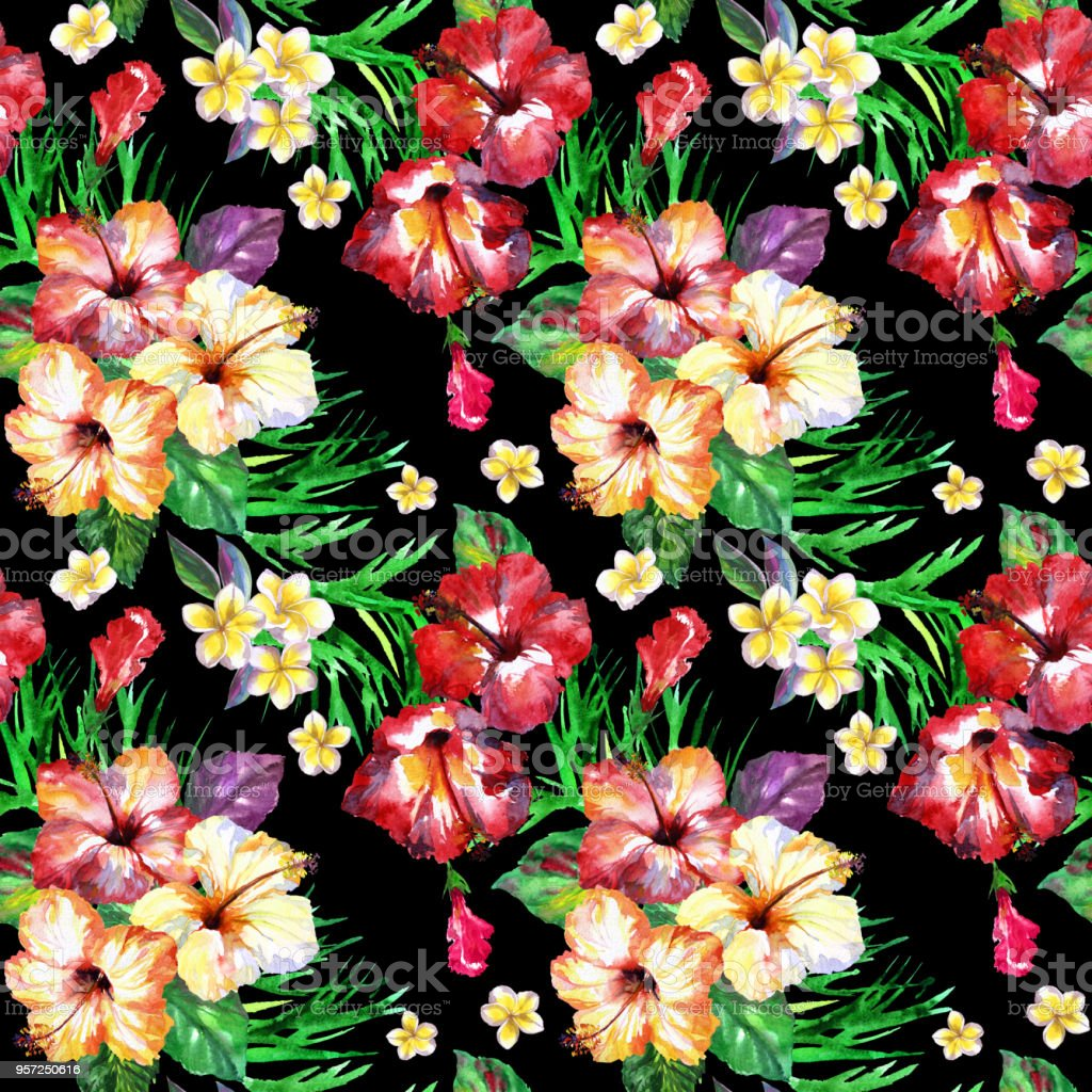 Tropical Floral Pattern Blossom Hibiscus Bouquets On A Black