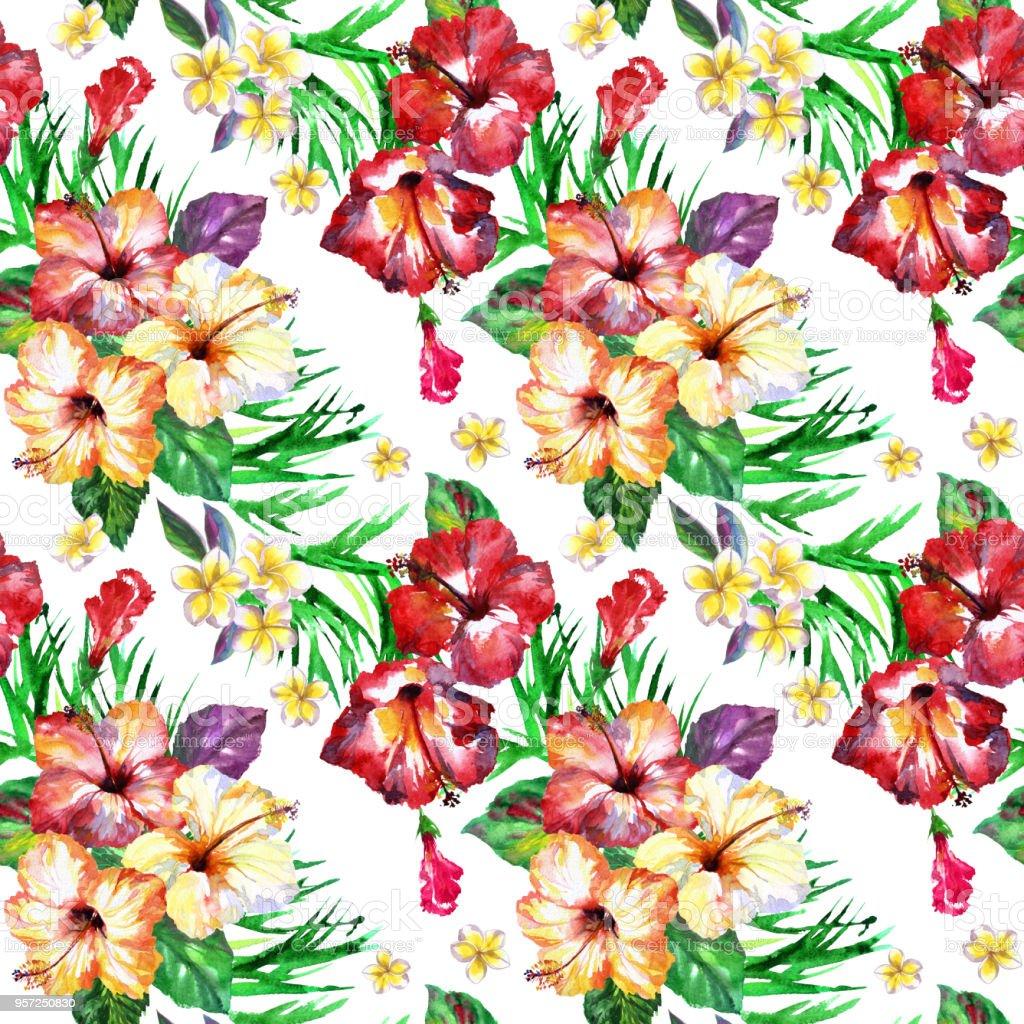黒の背景にトロピカル花柄の花ハイビスカス ブーケハワイアン シャツ
