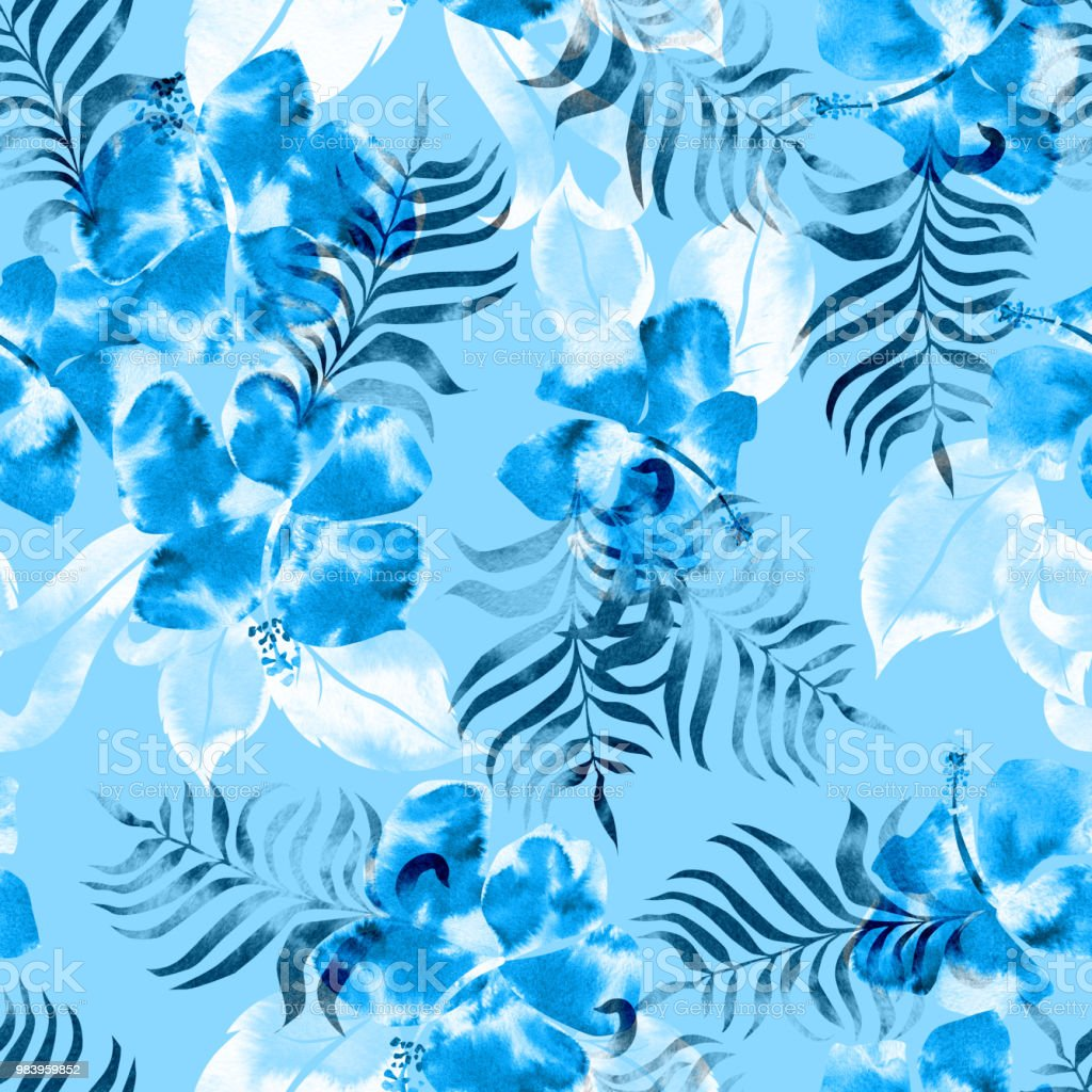 Tropical floral pattern seamless backgrounds blue flowers and white tropical floral pattern seamless backgrounds blue flowers and white palm leaf watercolor textures paint hands izmirmasajfo