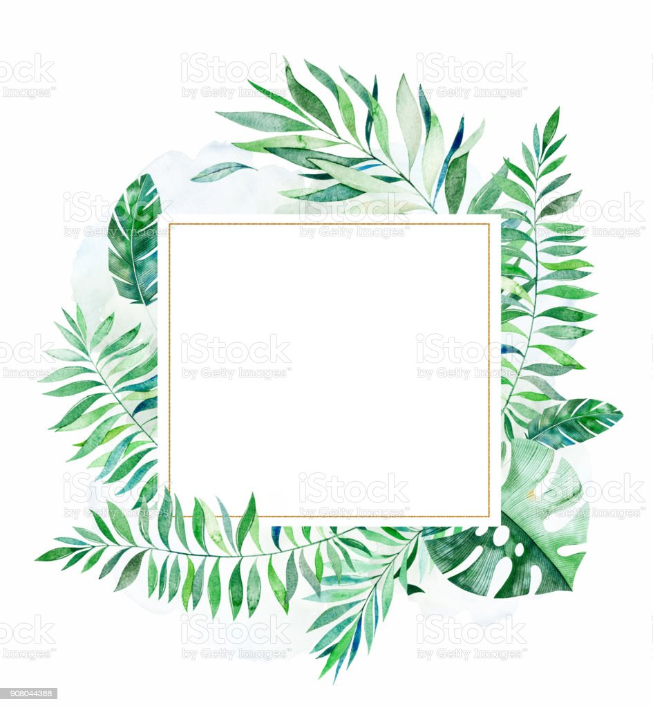 Tropical green floral frame with colorful tropical leaves vector art illustration