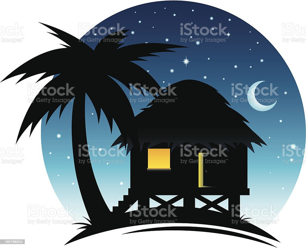 Tropical Hut at Night vector art illustration