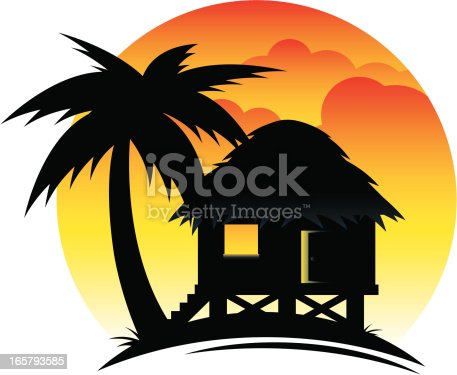 Tropical beach scene at sunset or dawn with hut. All colors are global. Radial and linear gradients used.