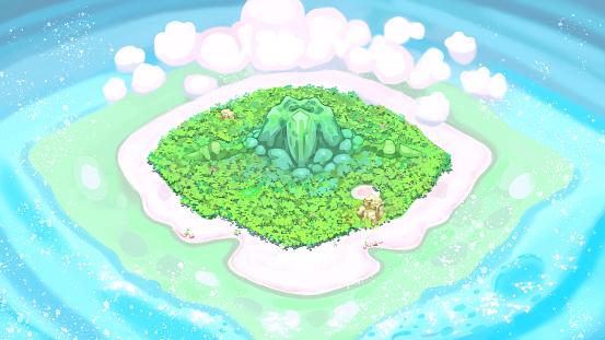 Tropical Island Cartoon Illustration
