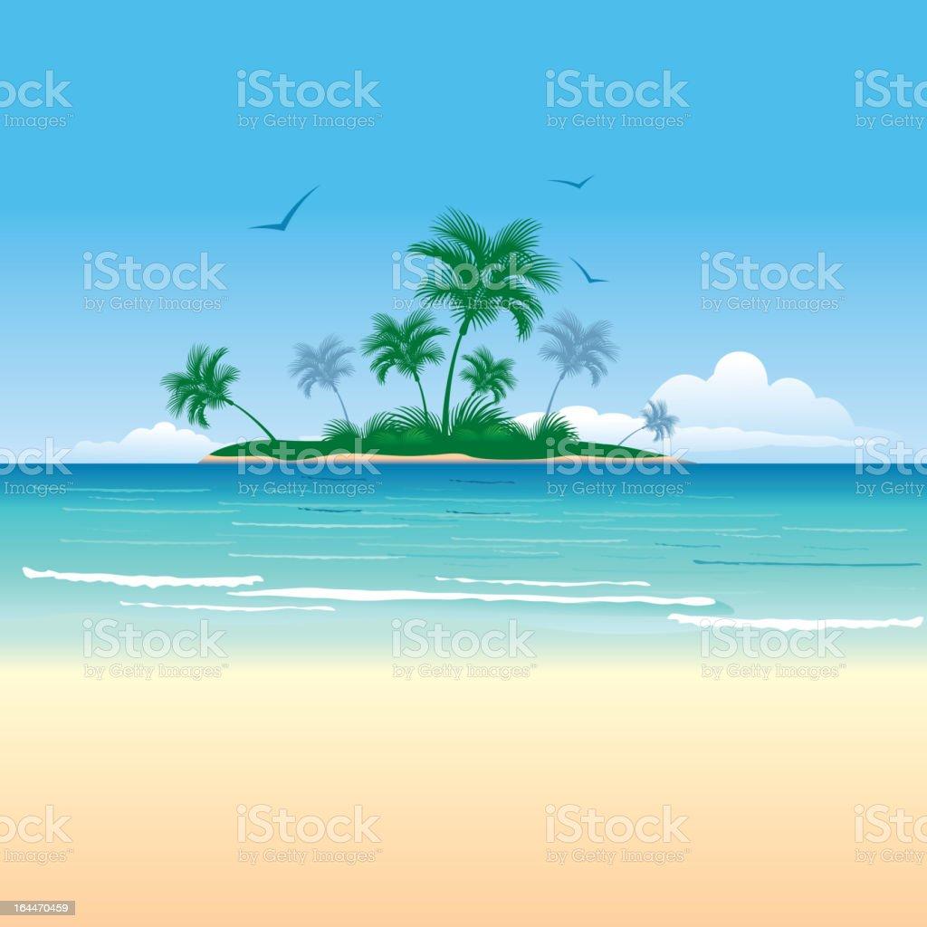 Tropical island vector art illustration