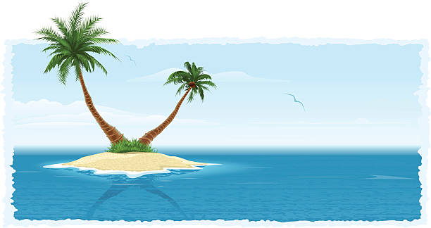 Tropical Island Vector composition with an island in a sea big island hawaii islands stock illustrations