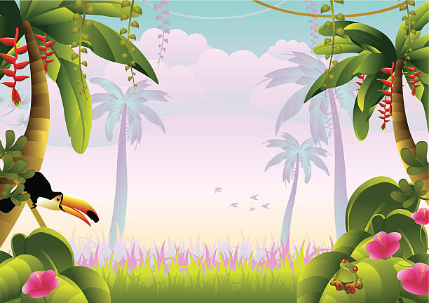 Tropical jungle with macaw  amphibians stock illustrations