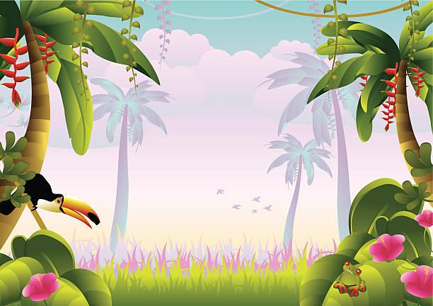ilustrações de stock, clip art, desenhos animados e ícones de selva tropical com arara - angiospermas