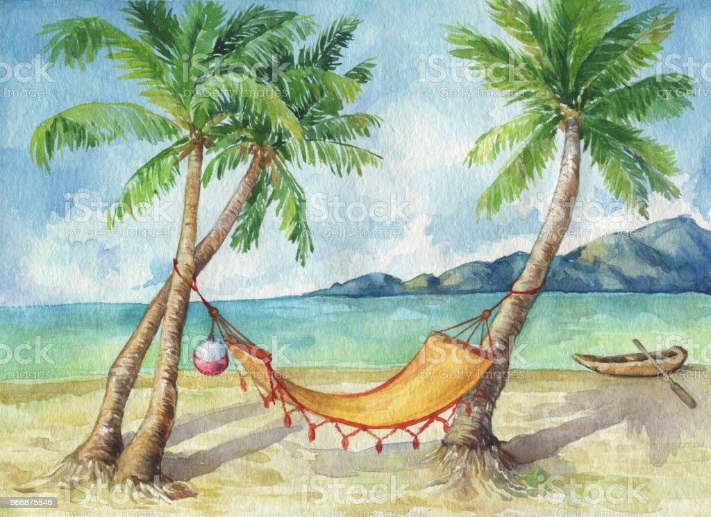 Paysage Tropical De Cocotiers Sur La Plage Docean Dans La Journee