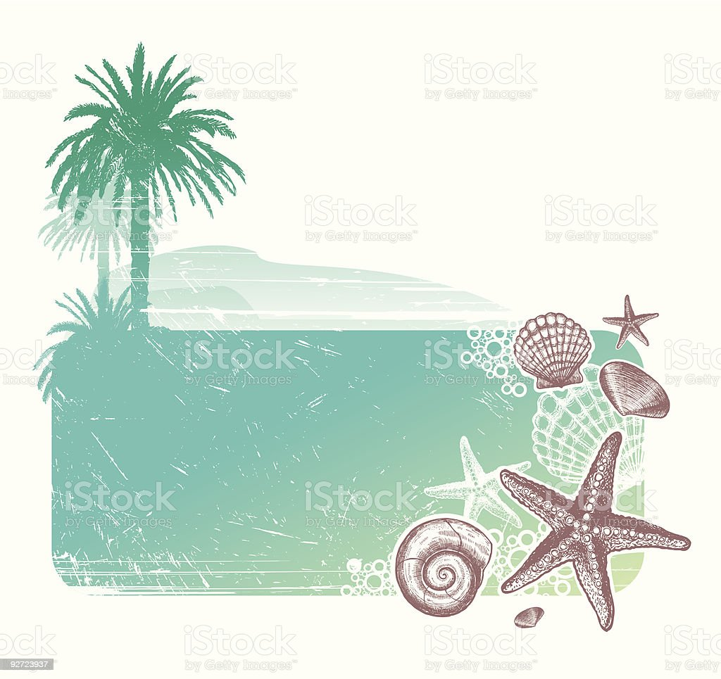Tropical landscape & Inhabitants of the sea royalty-free tropical landscape inhabitants of the sea stock vector art & more images of animal shell