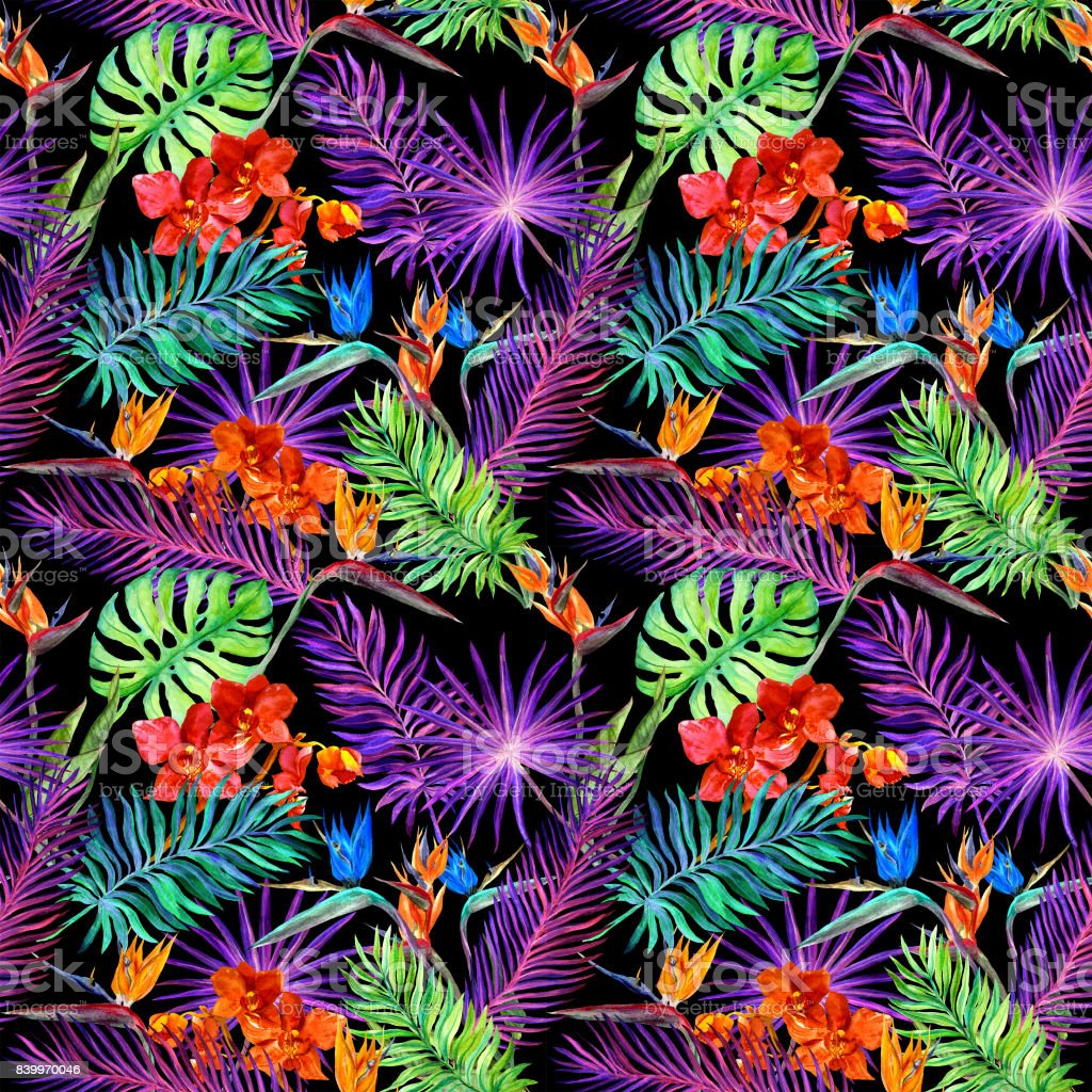 Tropical leaves exotic flowers in neon glow repeating hawaiian tropical leaves exotic flowers in neon glow repeating hawaiian pattern watercolor royalty izmirmasajfo Images
