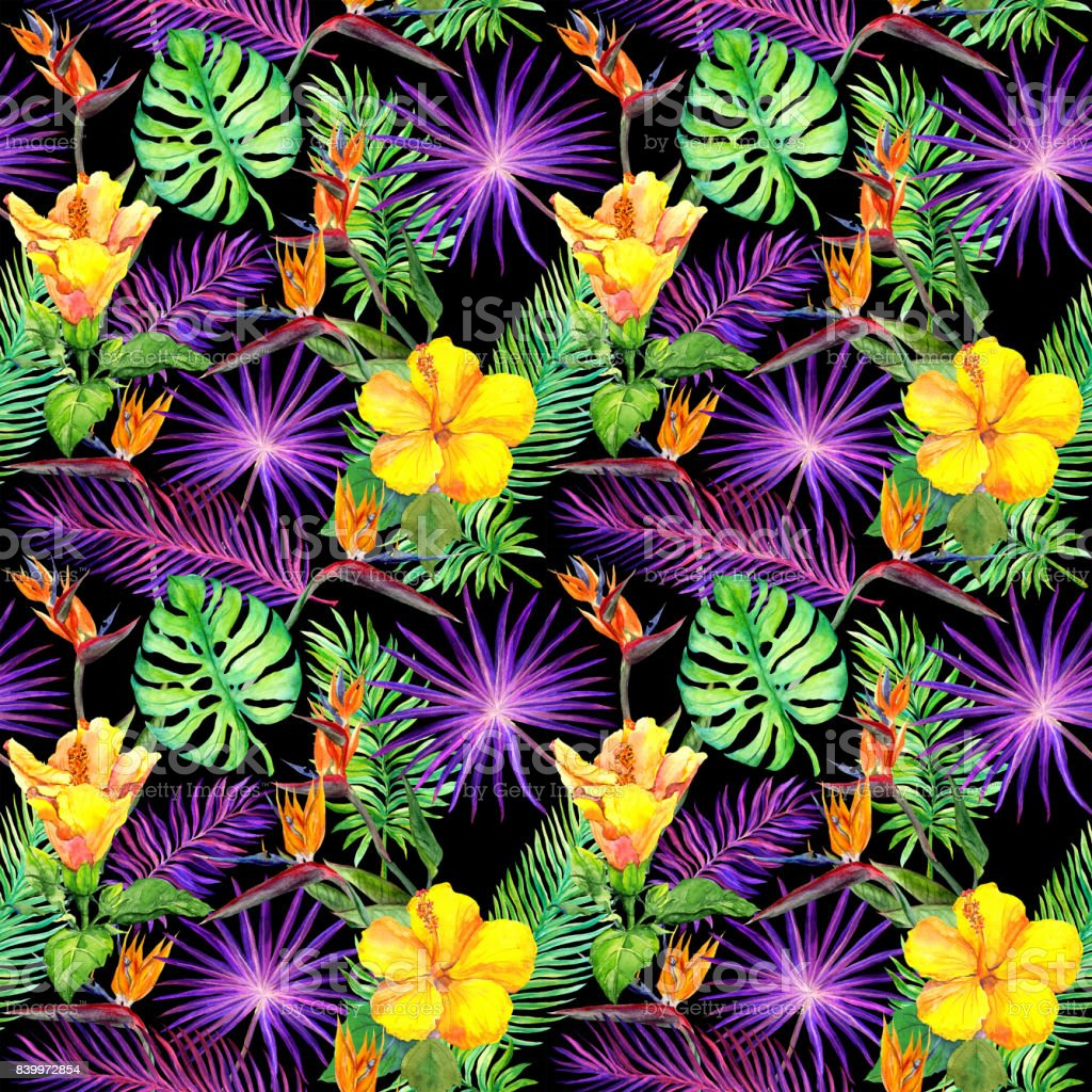 tropical leaves exotic flowers seamless pattern on black