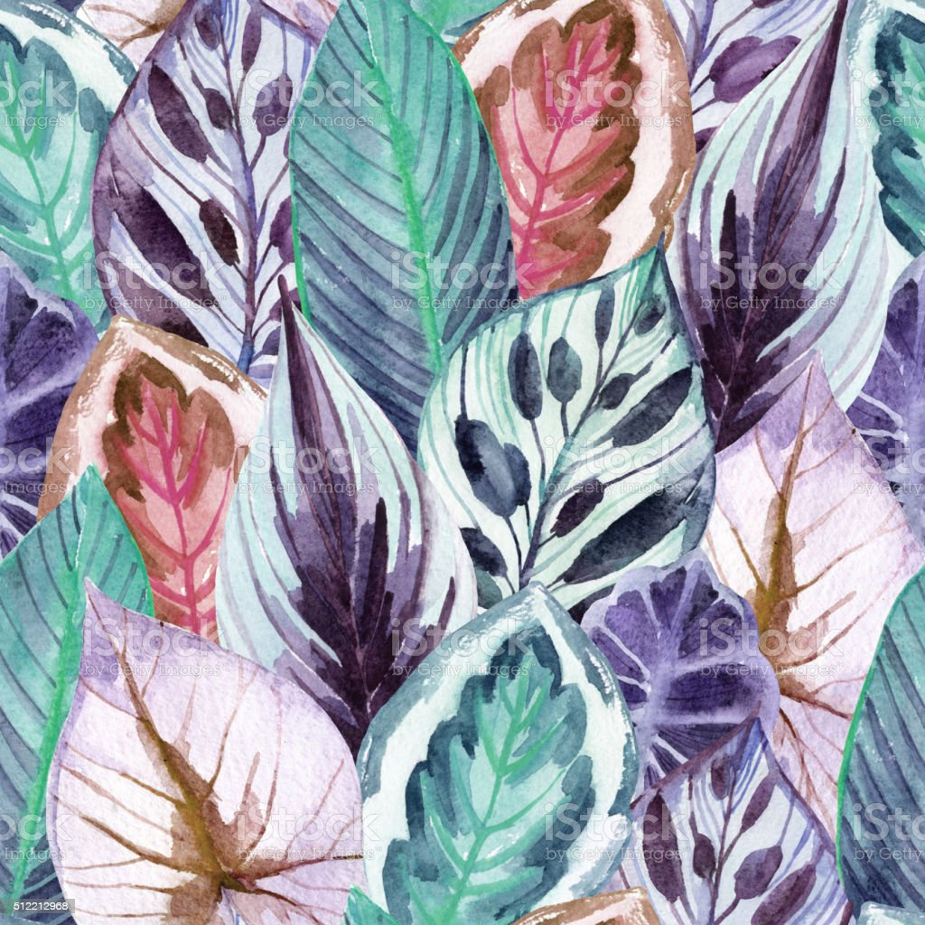 tropical leaves vector art illustration