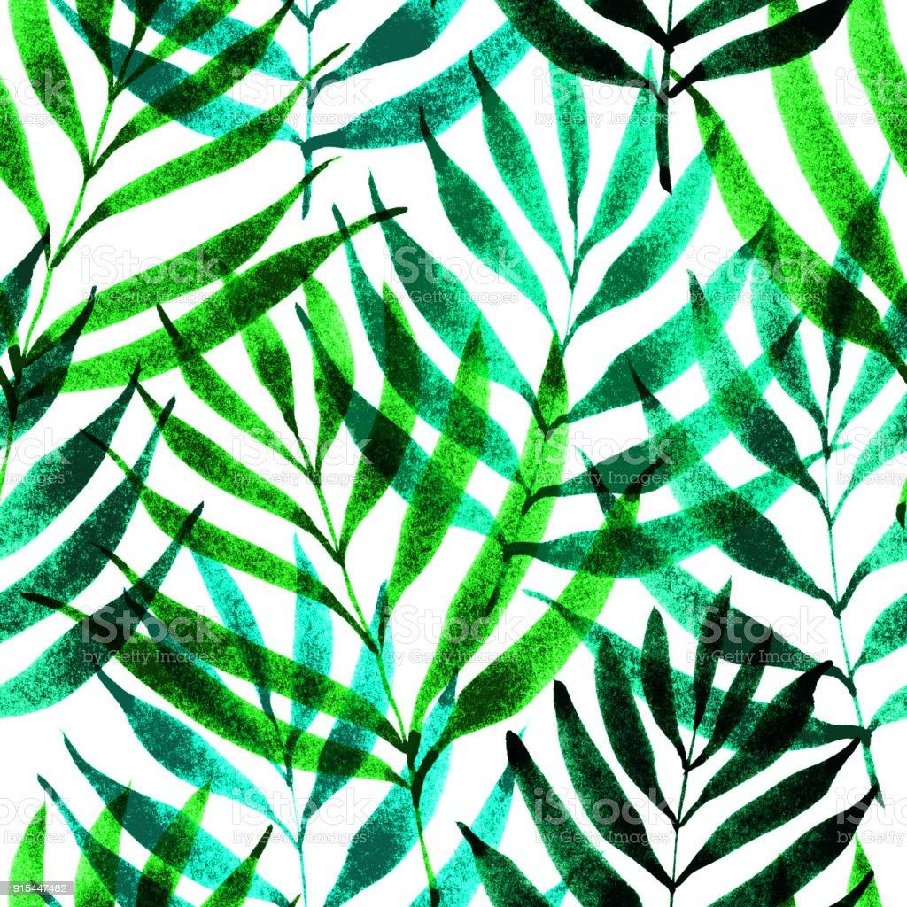 Tropical Leaves Jungle Pattern Seamless Ink Brush Botanical Pattern ...