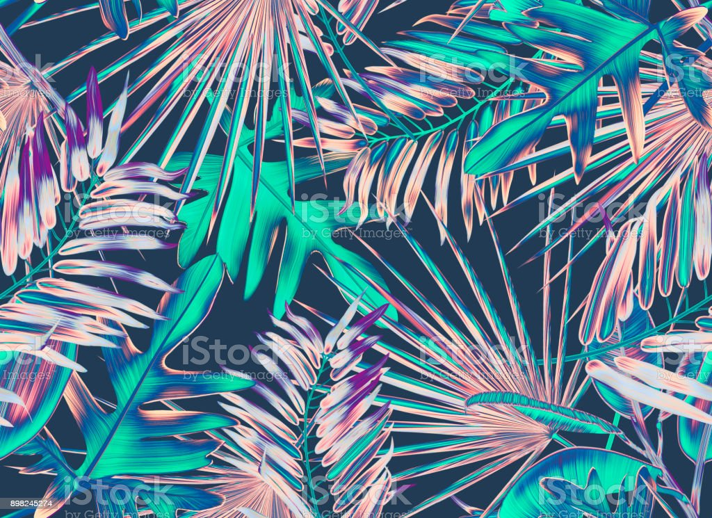 Tropical palm leaves. Seamless stylish fashion floral pattern, in Hawaiian style. vector art illustration