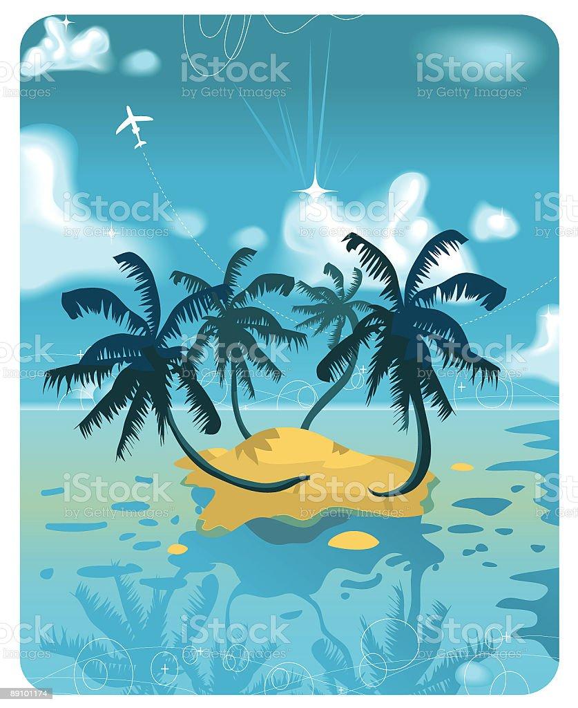 Tropical paradise vector art illustration