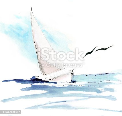 istock Tropical paradise. Turquoise ocean, yacht, seagulls, wind and freedom. Watercolor hand painting, sketch, draft, design concept, background 1144568377