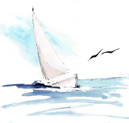 Tropical paradise. Turquoise ocean, yacht, seagulls, wind and freedom. Watercolor hand painting, sketch, draft, design concept, background