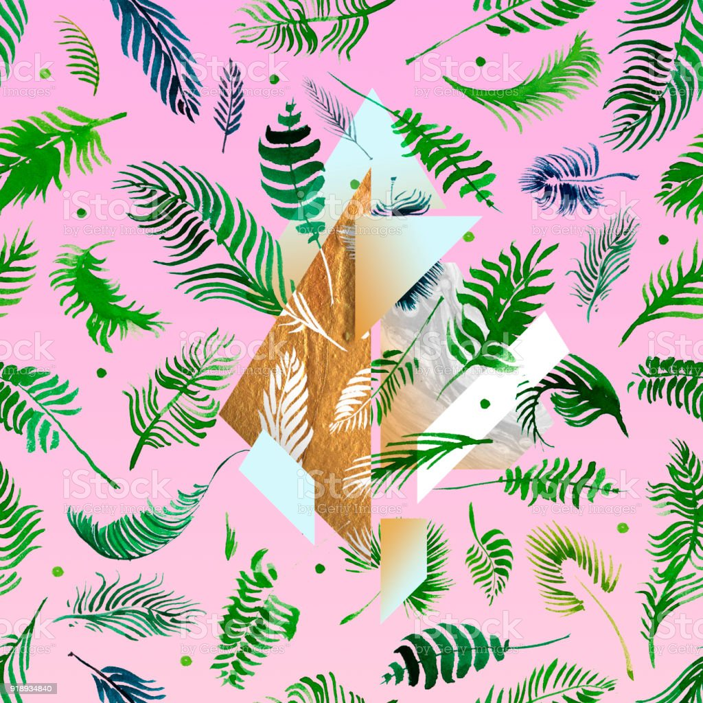 Wonderful Wallpaper Music Watercolor - tropical-pink-illustrations-with-geometric-gold-elements-watercolor-illustration-id918934840  Pictures_376542.com/illustrations/tropical-pink-illustrations-with-geometric-gold-elements-watercolor-illustration-id918934840