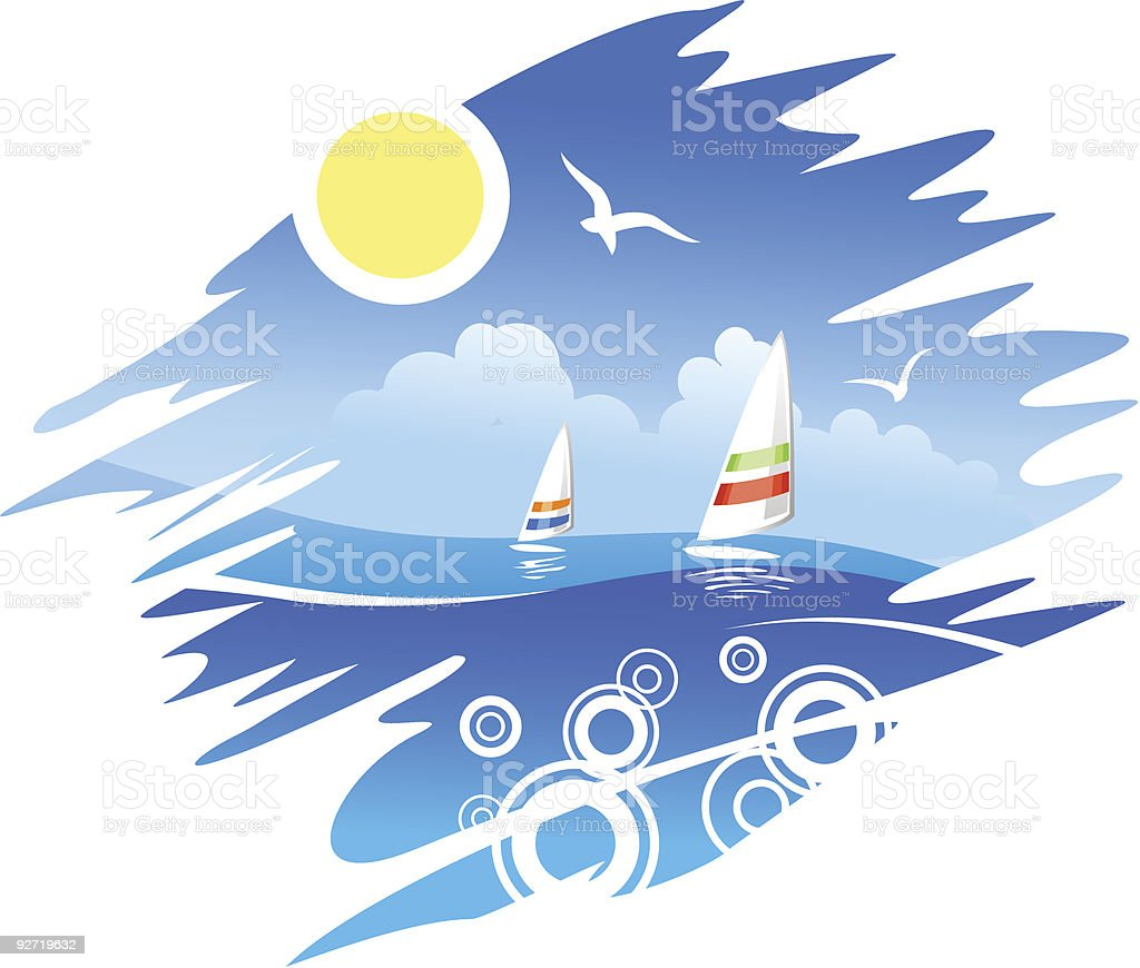 Tropical Sea vector art illustration