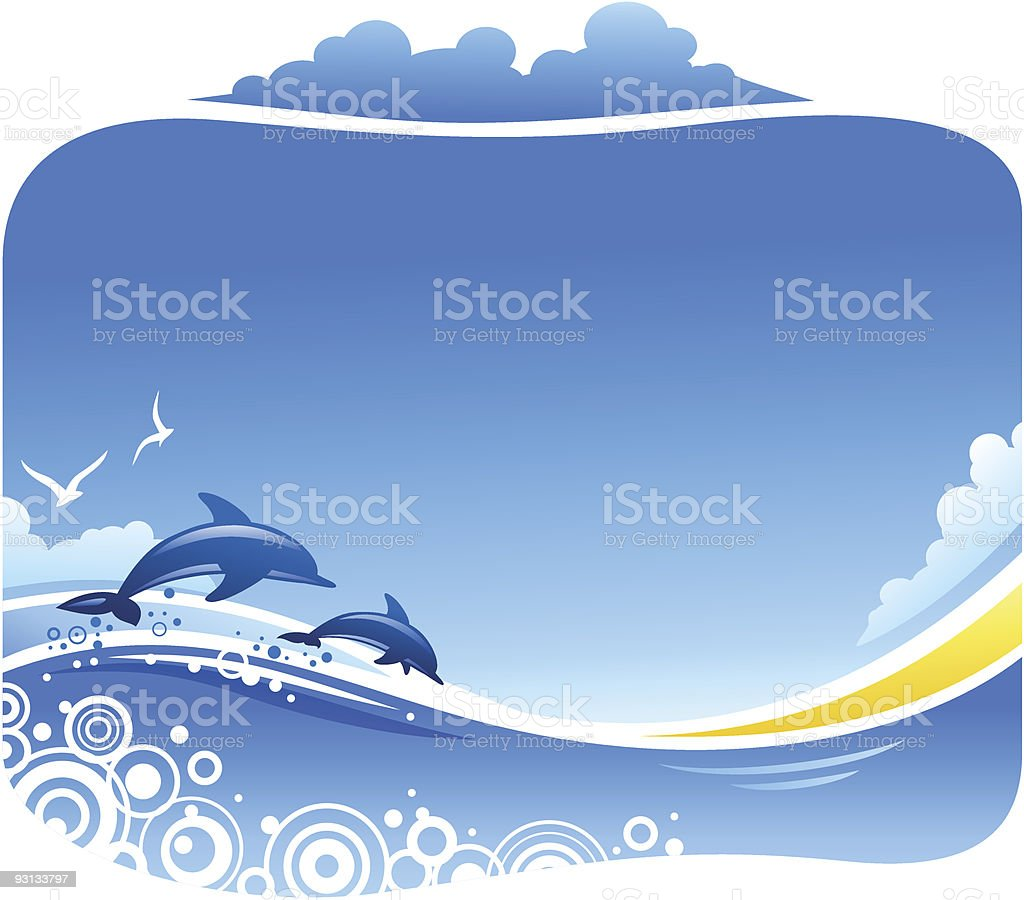 Tropical Sea with Dolphins vector art illustration