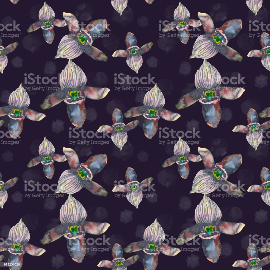 Tropical Seamless Pattern With Black Orchids Flowers Tropic Floral