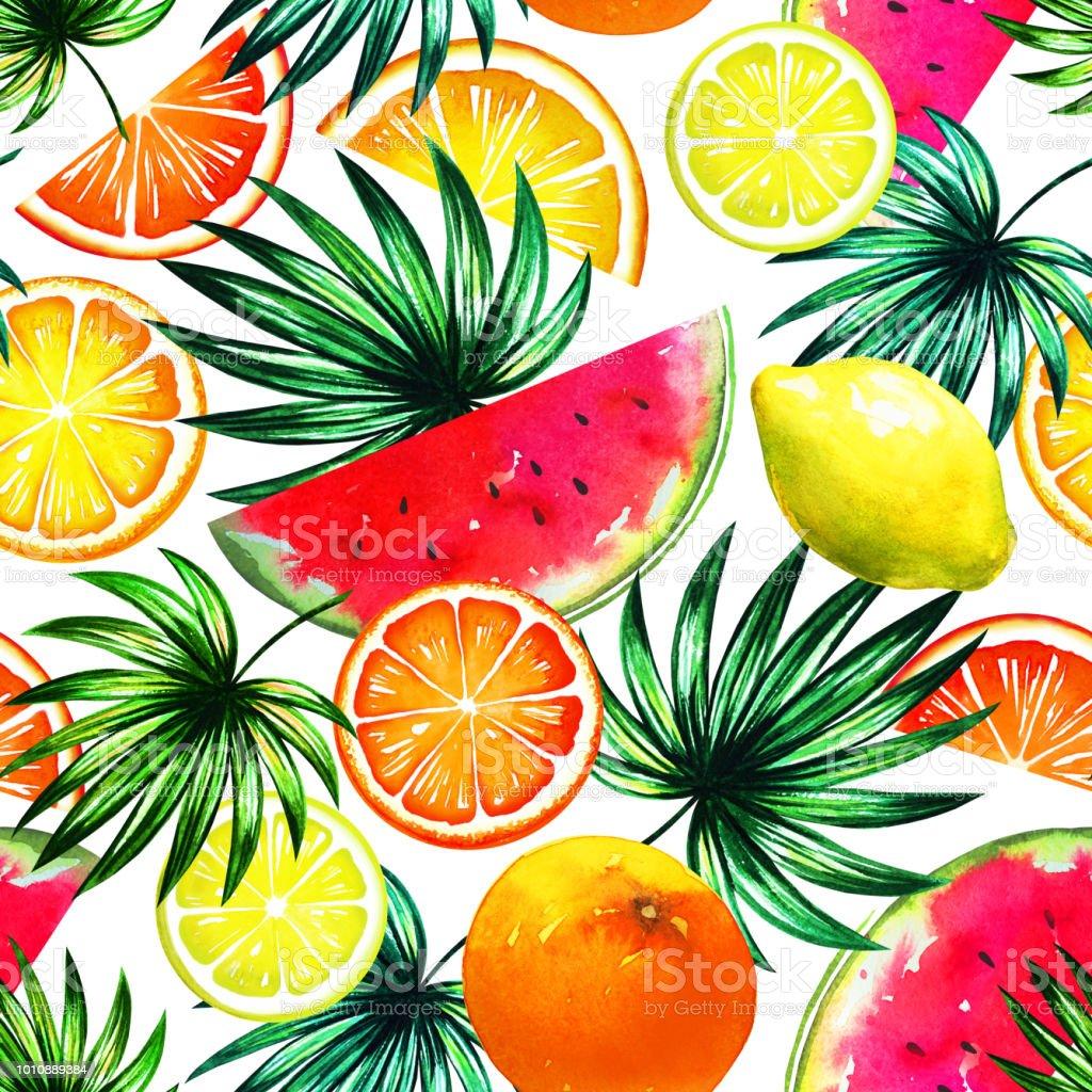 Patrón de moda tropical con mezcla de coloridas frutas exóticas y palmeras. Sale de manera natural impresión con watermalen, limón, rodajas de naranja y Palma. Textura de la selva en blanco. Diseño orgánico - ilustración de arte vectorial