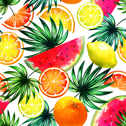 Tropical Trendy Pattern With Colorful Exotic Fruit Mix And