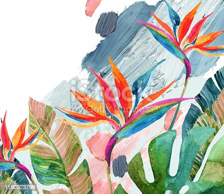 Tropical watercolor bird-of-paradise flower and tropical leaves on rough brush strokes background. Colorful watercolor florals on acrylic blots texture. Hand painted water color illustration