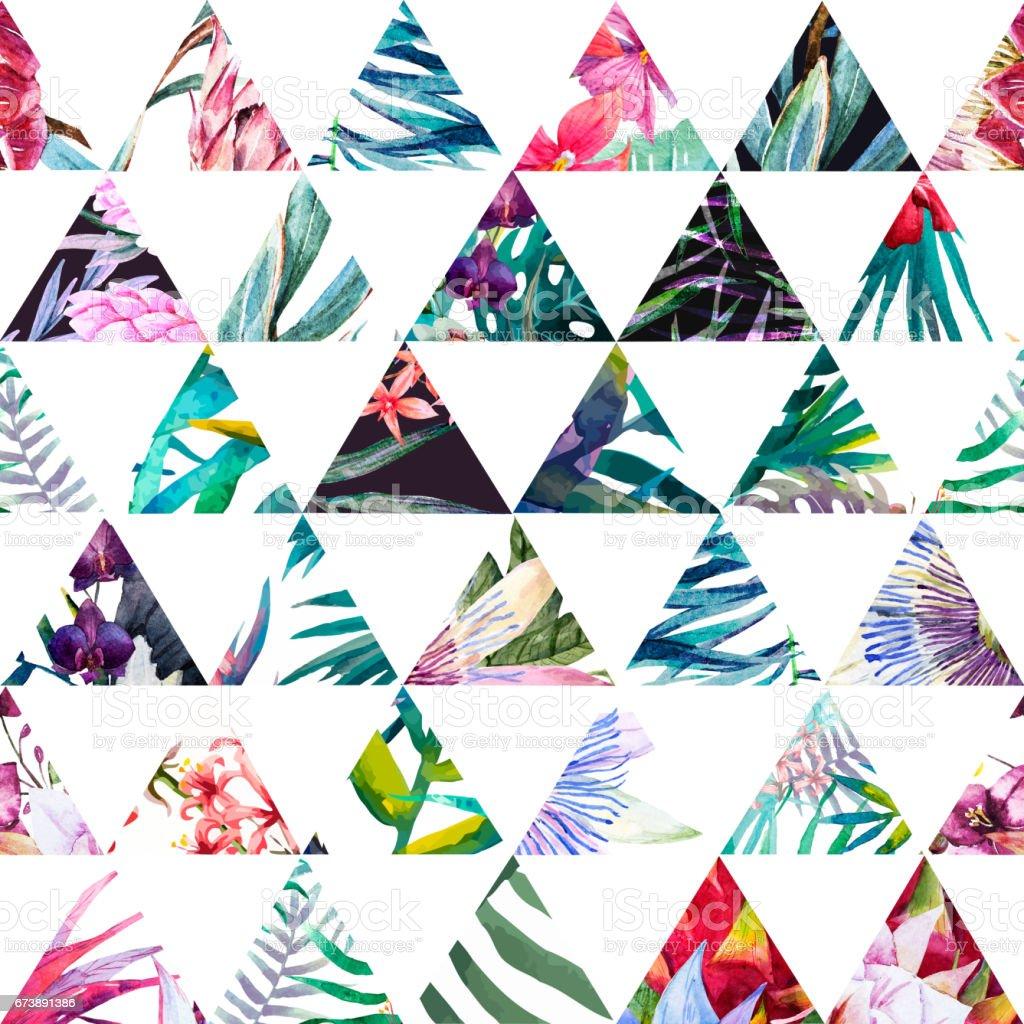 Tropical watercolor pattern tropical watercolor pattern - arte vetorial de stock e mais imagens de abstrato royalty-free
