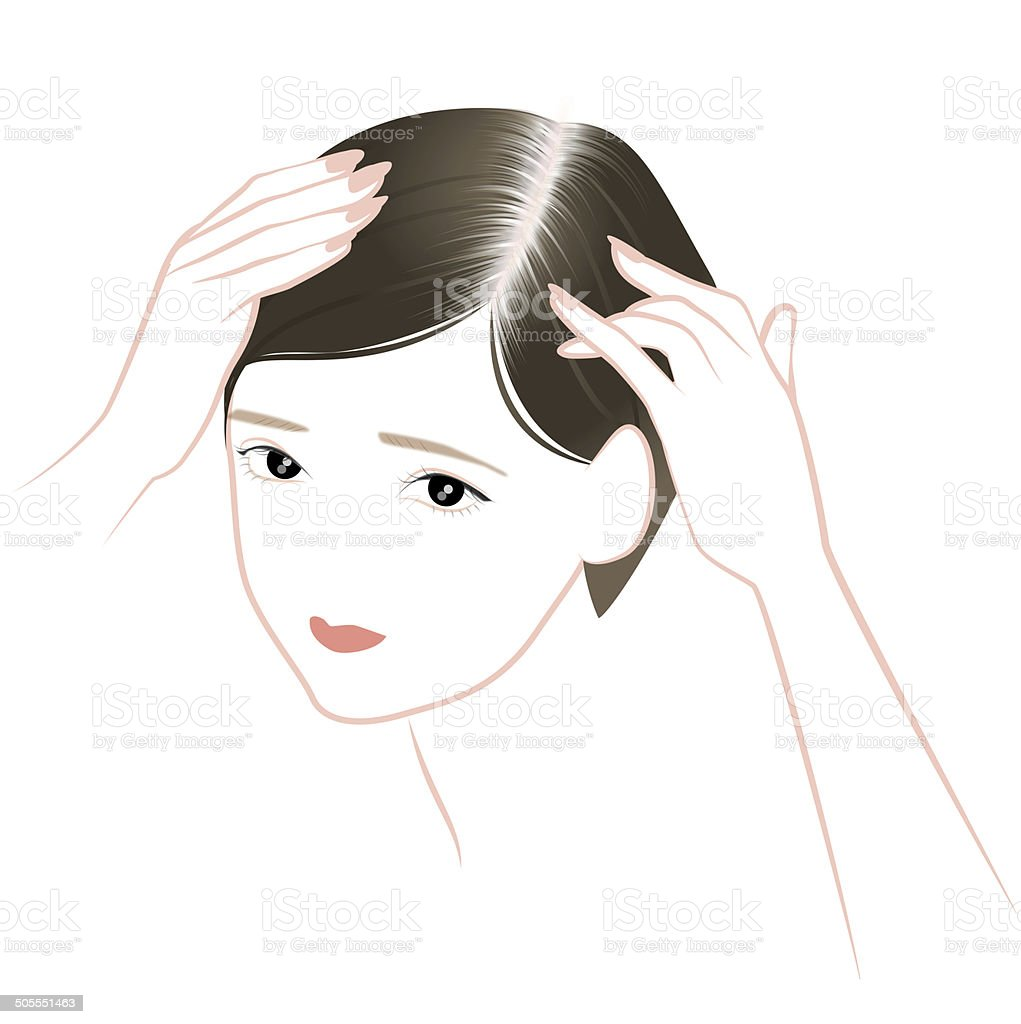 Trouble of hair of middle-aged women vector art illustration