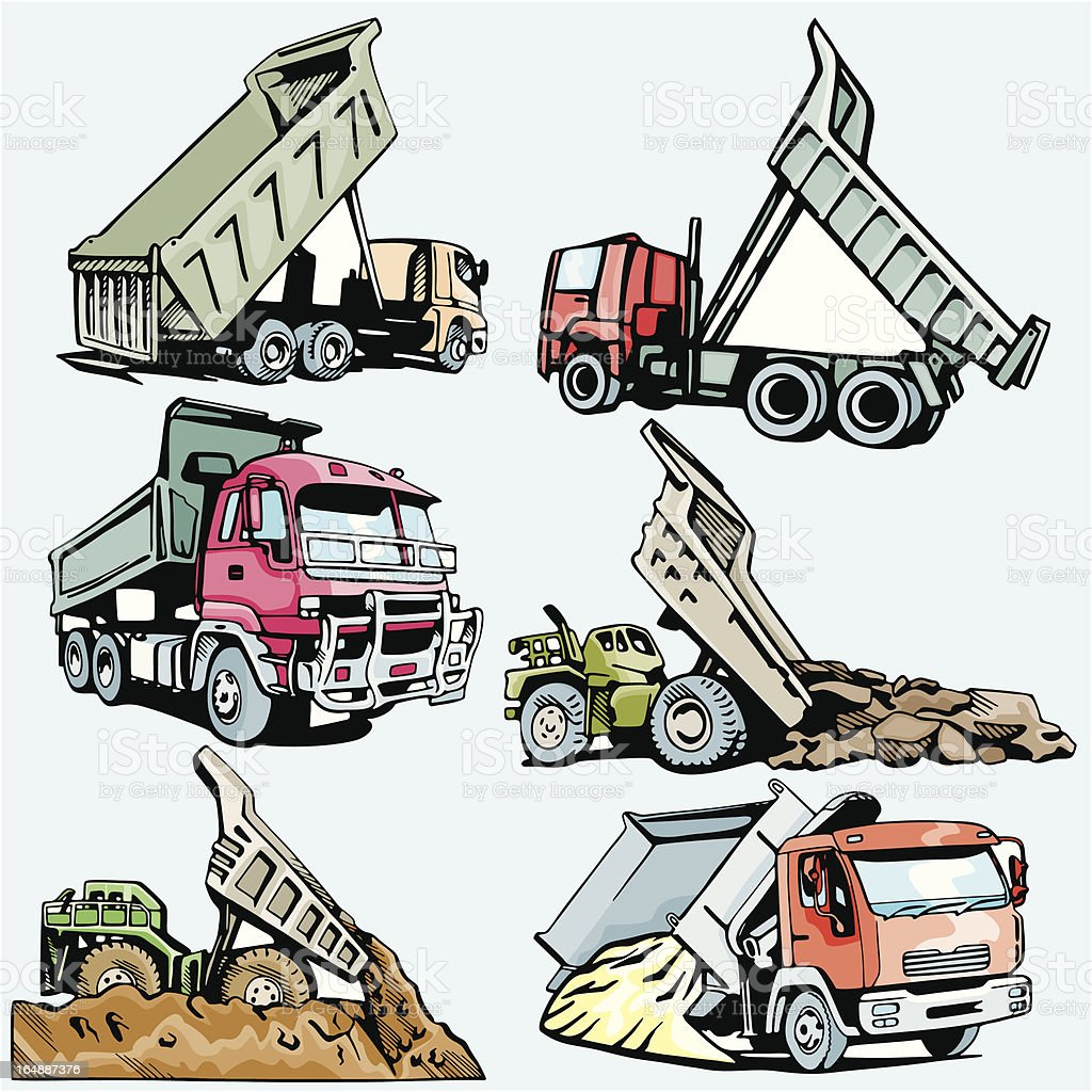 Truck Illustrations VI: Construction and Mining (Vector) royalty-free stock vector art
