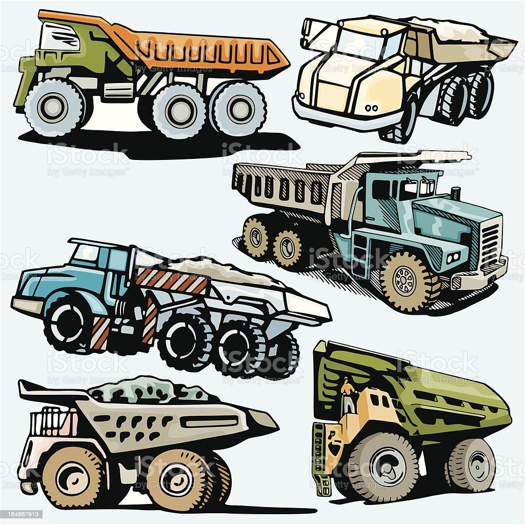 Truck Illustrations XV: Construction Trucks (Vector) royalty-free stock vector art