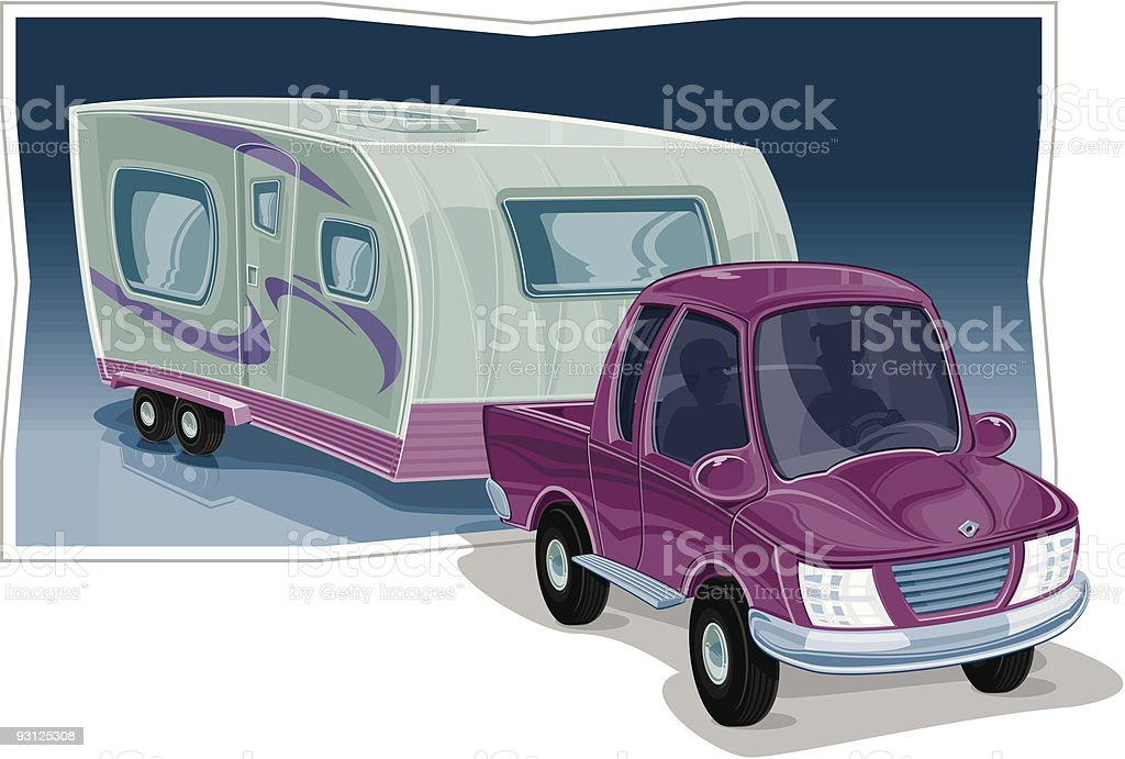 Truck with Small Travel Trailer royalty-free stock vector art