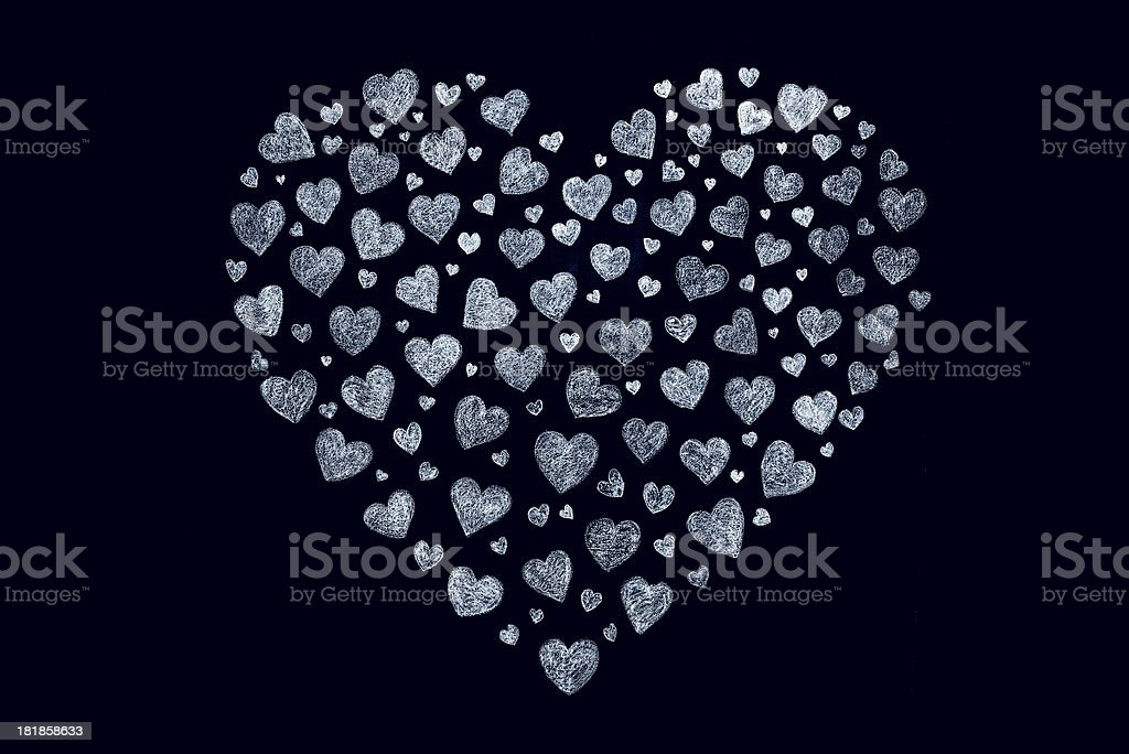True love: hearts on blackboard royalty-free stock vector art