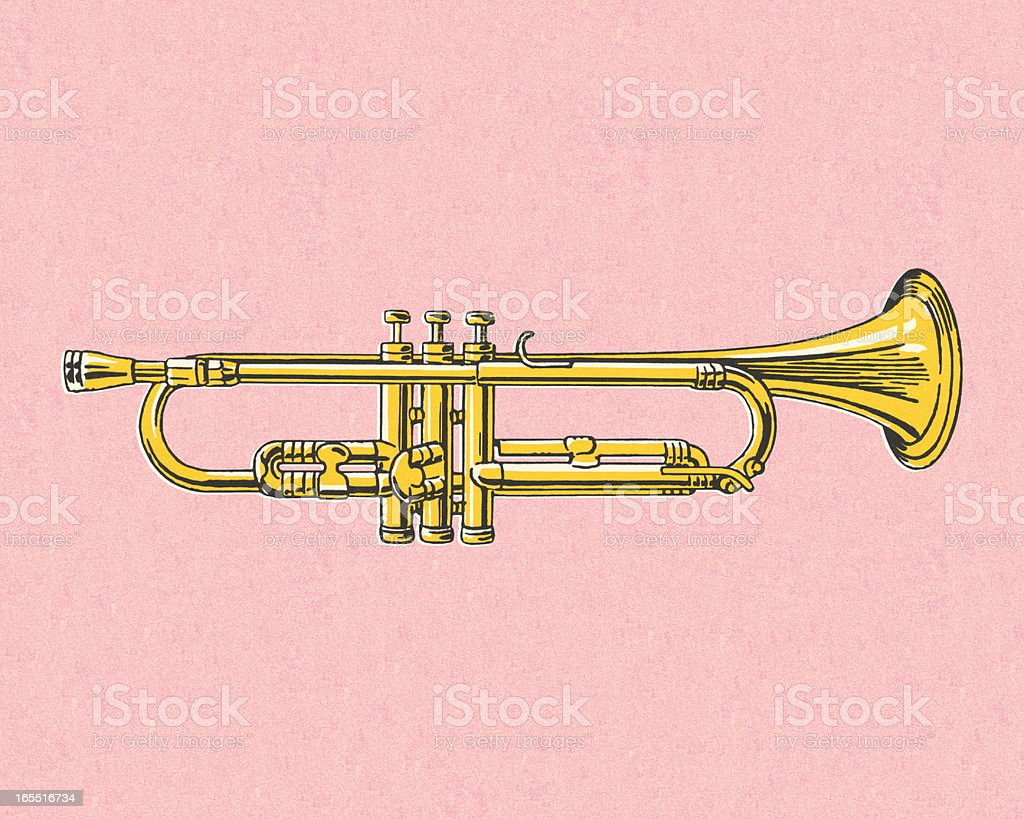 Trumpet on Pink Background royalty-free stock vector art