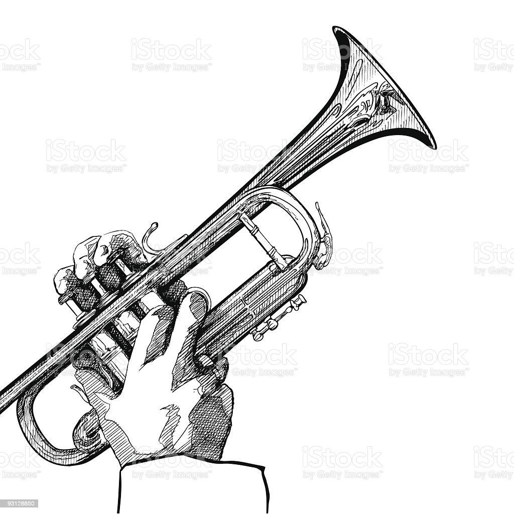 trumpet on white background vector art illustration