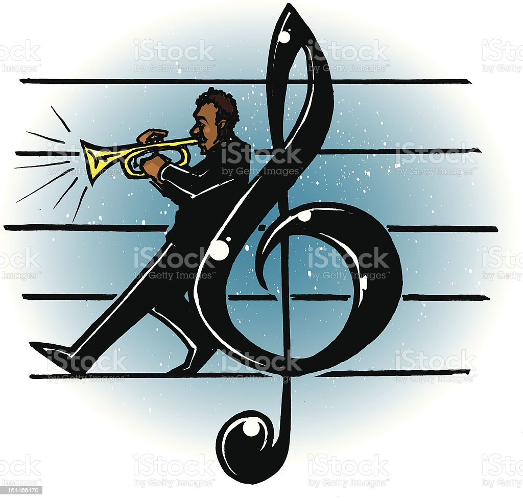 Trumpeter on Staff royalty-free stock vector art