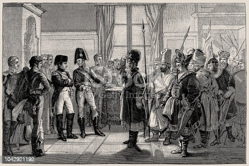Illustration of a Tsar Alexander I Presenting Russian Troops to Napoleon, 8th July 1807 (1882-188)