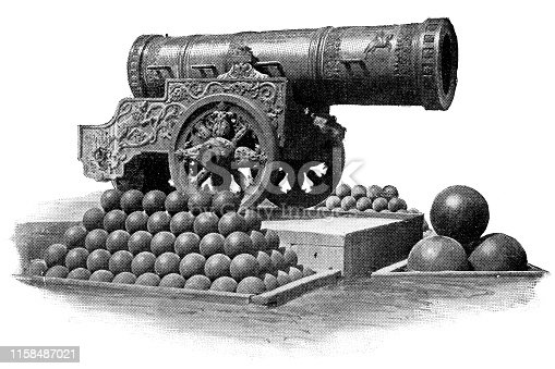 Tsar Cannon in Moscow, Russia. The Russian Empire era (circa 19th century). Vintage halftone etching circa late 19th century.