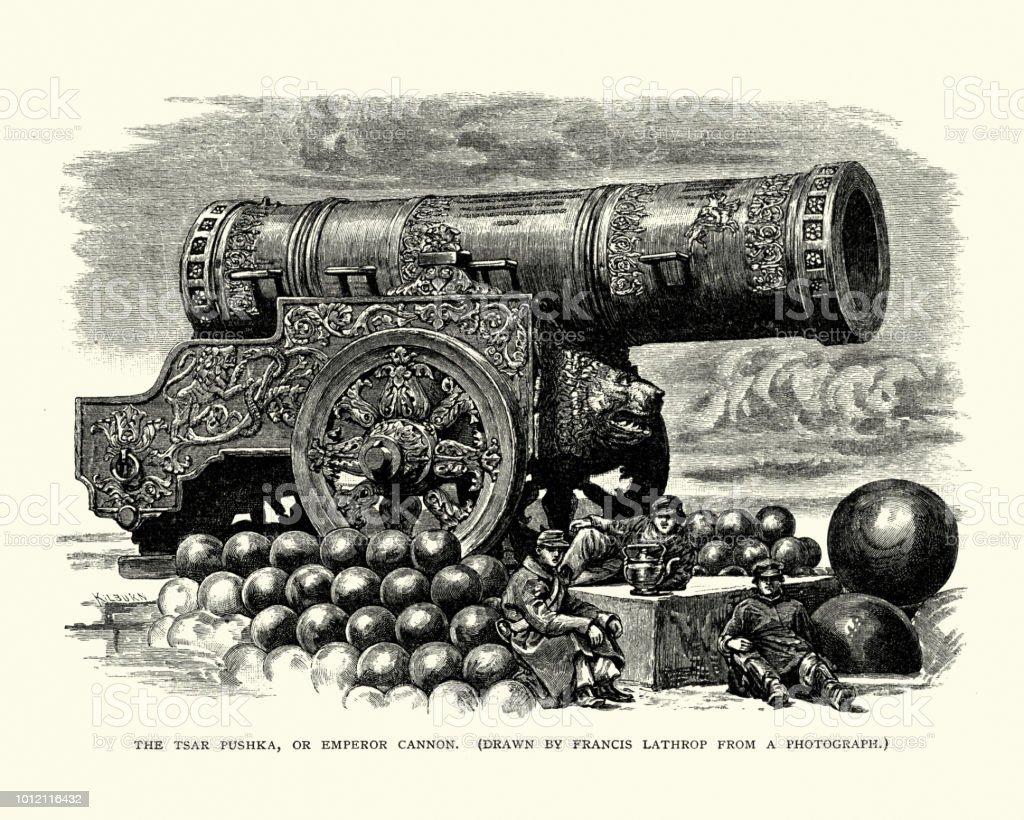 Tsar Cannon, Moscow, Russia vector art illustration